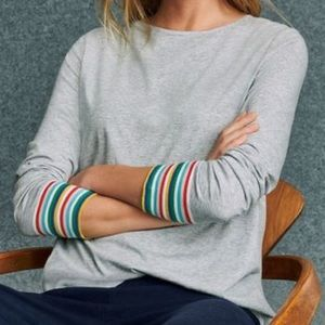 Boden Striped Cuff Gray Long-sleeve Tee